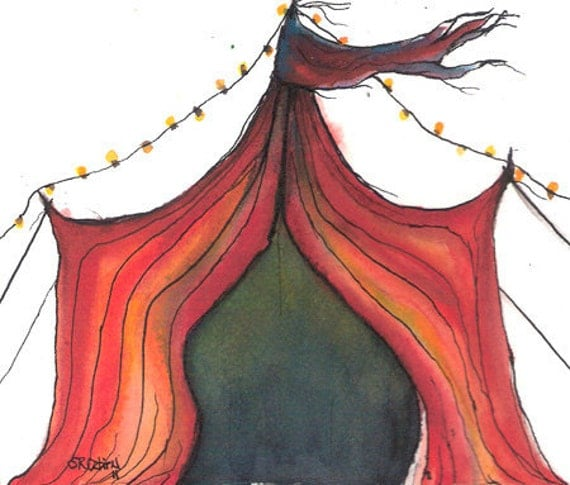 Carnival in Crimson, Tent 1, 5 x 7 inch, PRINT of an original watercolor by Shelley