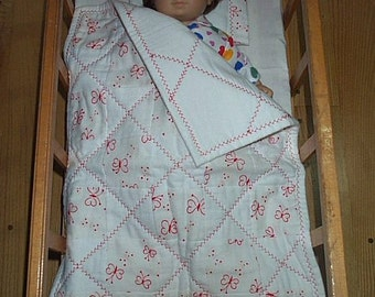 American Girl Bitty Baby Doll Quilt and Pillow Red Butterflies