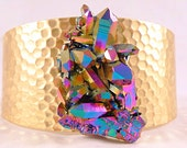 Titanium Aura Quartz and Hammered Brass Cuff