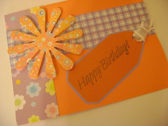 Colorful Orange and Purple Birthday Card with Flowers