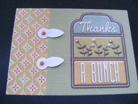 Handmade Card - Retro Style Thanks a Bunch Green Yellow Thank You Card