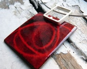 Stencil Pendant - Red and Black enamels -  Sterling silver and copper