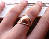 Line and Point Ring II -  Sterling silver and copper - Made to order in your size