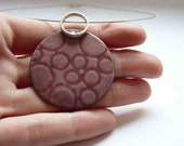Enameled Rose Necklace, Bubble pendant  in Pink enamel, Sterling silver and copper