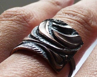 Ring Texture made of Sterling silver and copper  with black patina Made to order in your size  Modern contemporary design