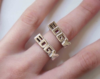 Word Ring  Set - Sterling silver - Made to order - Sizes 1 to 9 - Rings word of 4 or 3 letters