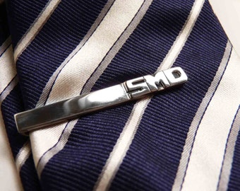 4 Personalized Men's tie bar clip for your Groomsmen, Sterling silver, Made to order, For your wedding