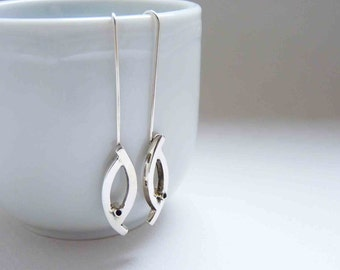 Sterling Silver Little Bird Earrings, simple, long, dangle.
