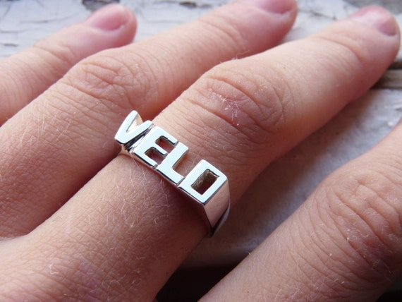 Word Signet Ring Sterling silver, Made to order, Personalized Letter, ABC, Four letters