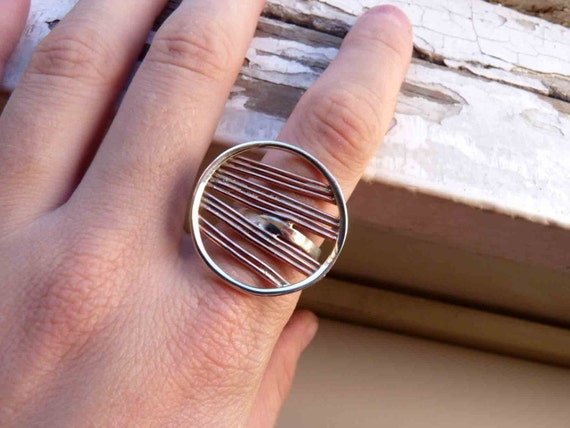 Round Ring - Sterling silver and copper - Made to order in your size