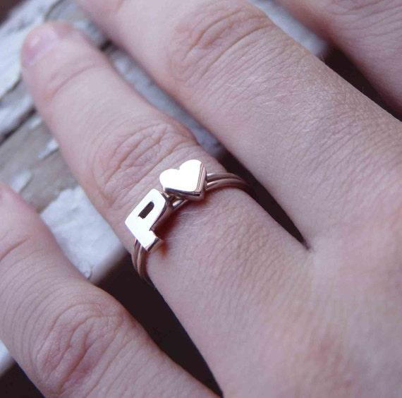 Custom Initial Sweetheart Rings, Stack Rings, Silver Rings, Initial Rings, Initial and Heart Rings, Stacking ring