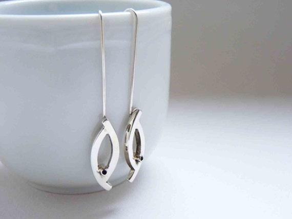 Sterling Silver Little Bird Earrings, simple, long, dangle.