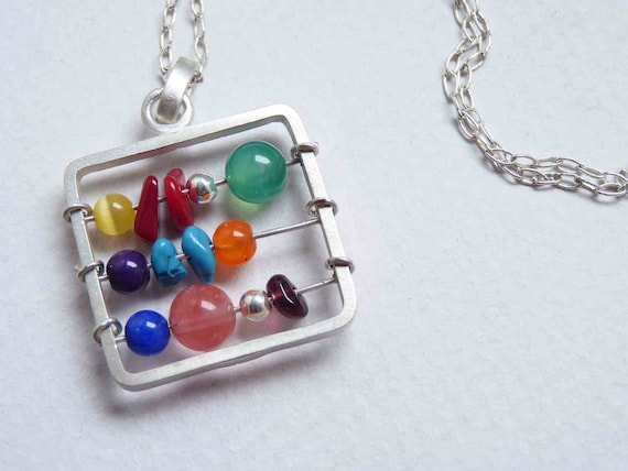 Little Abacus Necklace with chain made in Sterling silver, Stones in colorful tones, Multicolor, Mathematics, Teacher, Square pendant