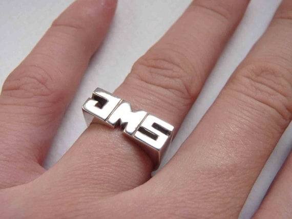 2 Personal Rings, Sterling silver, Signet ring, Name Ring, Initials ring, Monogram Ring, Made to order