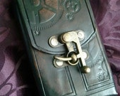 steampunk Leather Pouch - cell case - tarot card case - smoke pouch
