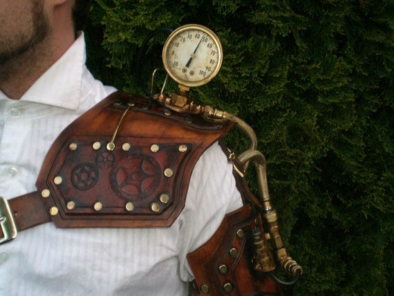 Steampunk leather Power Pauldron shoulder armor