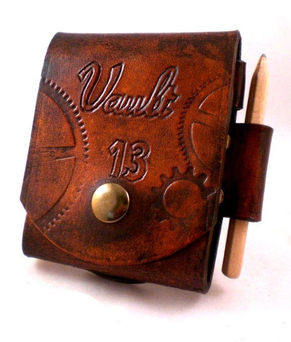 fallout vault 13 leather note pad belt pouch with pencil