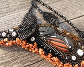 "Reserved for Margie-----------  Gourd Necklace Monarch Chrysalis Beaded ""Shadow of Things to Come"""