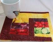 Modern Free Form Coaster, Mug Rug or Wall Quilt Fruit of the Land