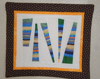 One of a Kind Free Form Scrappy Strings Mini Quilt Mug Rug or Snack Mat