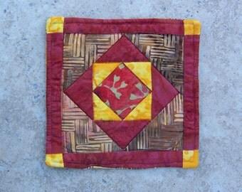 Mini Quilt or Coaster Batik Stacked Squares