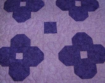 4 Purple Flowers Table Mat Mug Rug Mini Quilt