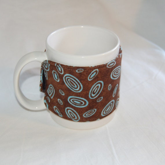 Set Of 3 Coffee Cup Canvas Wraps: Reversible Wrap Around Coffee Mug Quilt