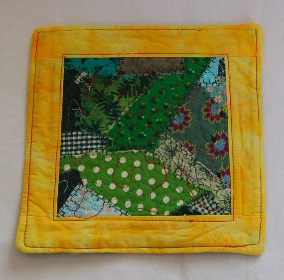 Scrappy Yellow and Green Coaster/Mini Quilt