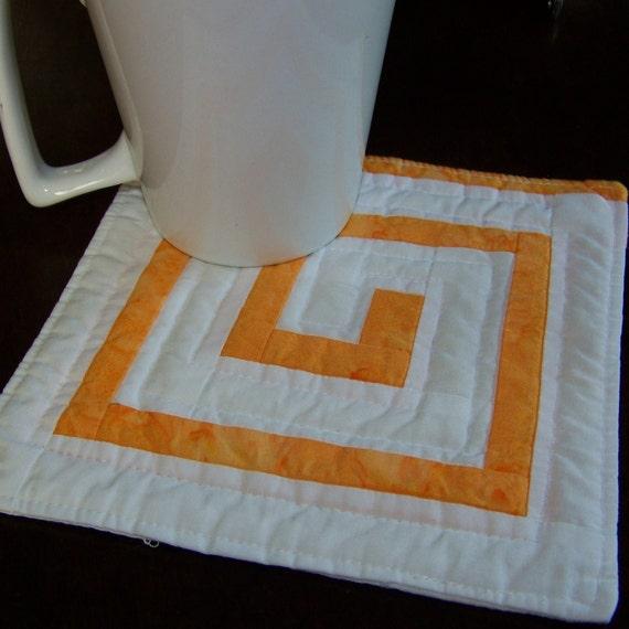Orange and White Mini Quilt, Mug Rug or Coaster