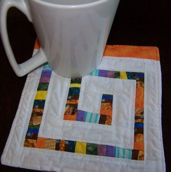 Scrappy Mini Quilt, Mug Rug or Coaster