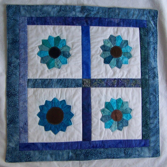 Scrappy Batik Blue Dresden Plate Table Topper