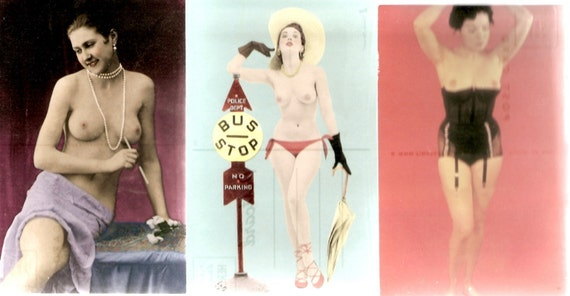 15 Racy Pin up Old Postcards Unused
