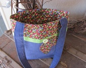 Clearance - Small Tote - Fall Leaves - Applique - Open Pocket