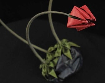 Red Lady Slippers Origami Ikebana Flower Arrangement