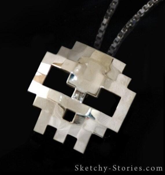8-Bit Skull Pendant