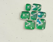 Magnets Handmade Paper Green Abstract Batik Glass