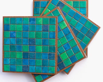 Teal Coasters, Handmade Paper, Blue Green, Mosaic Tile, Drink Barware, Manly Gift, Modern Decor, Housewarming Geometric Furniture Protection