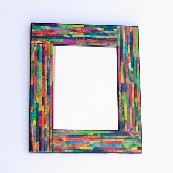 Wall Mirror Colorful Geometric Striped Mosaic Handmade Paper