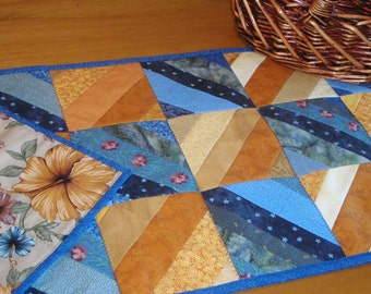 Blue and Yellow Quilt Table Runner