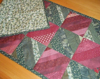 Quilt Red and Green Table Runner Runner Handmade