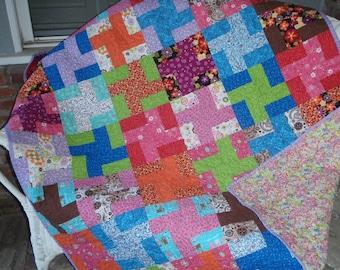 Quilt Scrappy Pinwheel Contemporary Handmade