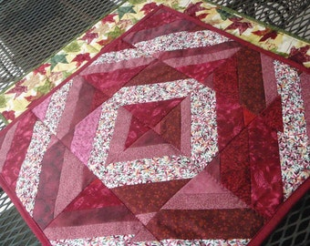 Reversible Red Quilt Table Topper