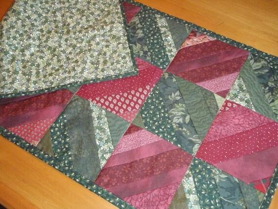 Quilt Red and Green Table Runner Runner Handmade