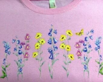 New Women's Wildflower Spring Summer Short Sleeve Tee Shirt Sizes Small thru 3X-Large Floral Flower