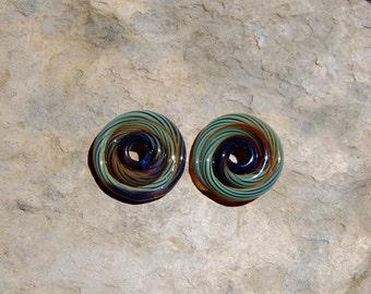 Swirling Antique Teal Stripes Spiral Beads Set of 2