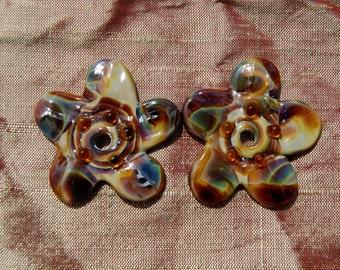Woodland Flower Beads--set of 2