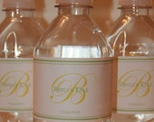 Elegant Monogram Water Bottle Label- Set of 20