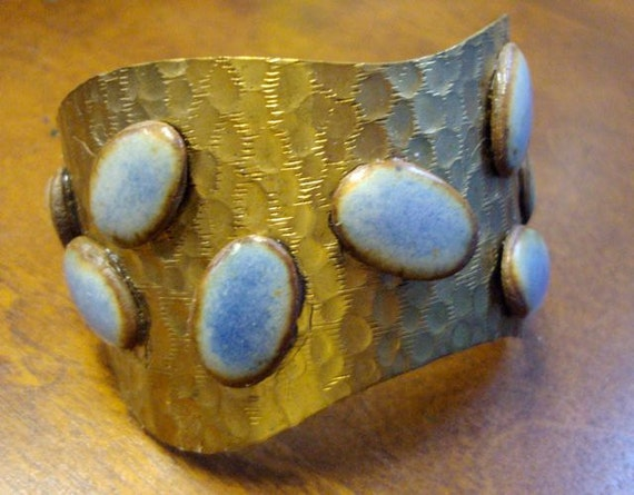 vintage  hammered brass cuff with hand formed stones in earthy sky blue