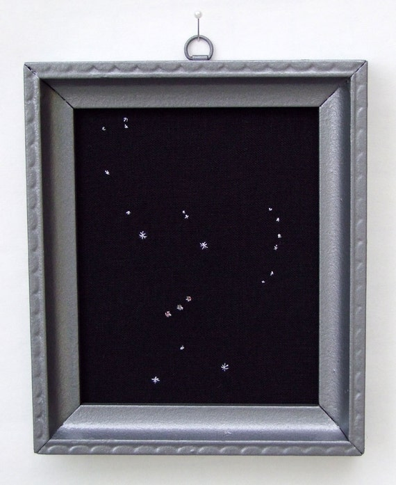 Orion constellation embroidered art panel