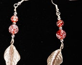 Hill Tribe Silver and Red Glass Bead earrings